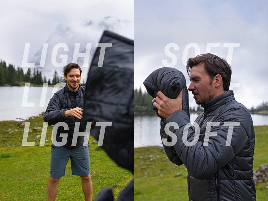 Mężczyzna łapie kurtkę